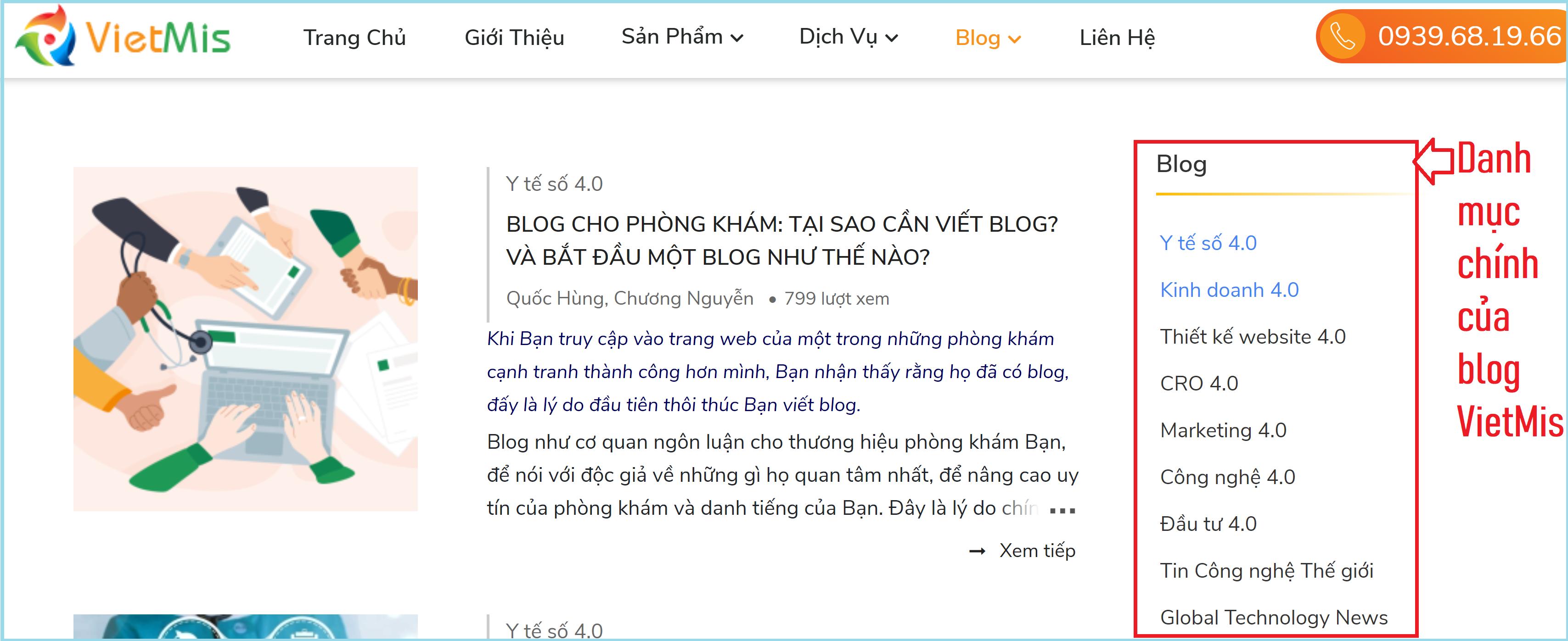 Các danh mục chính của blog VietMis