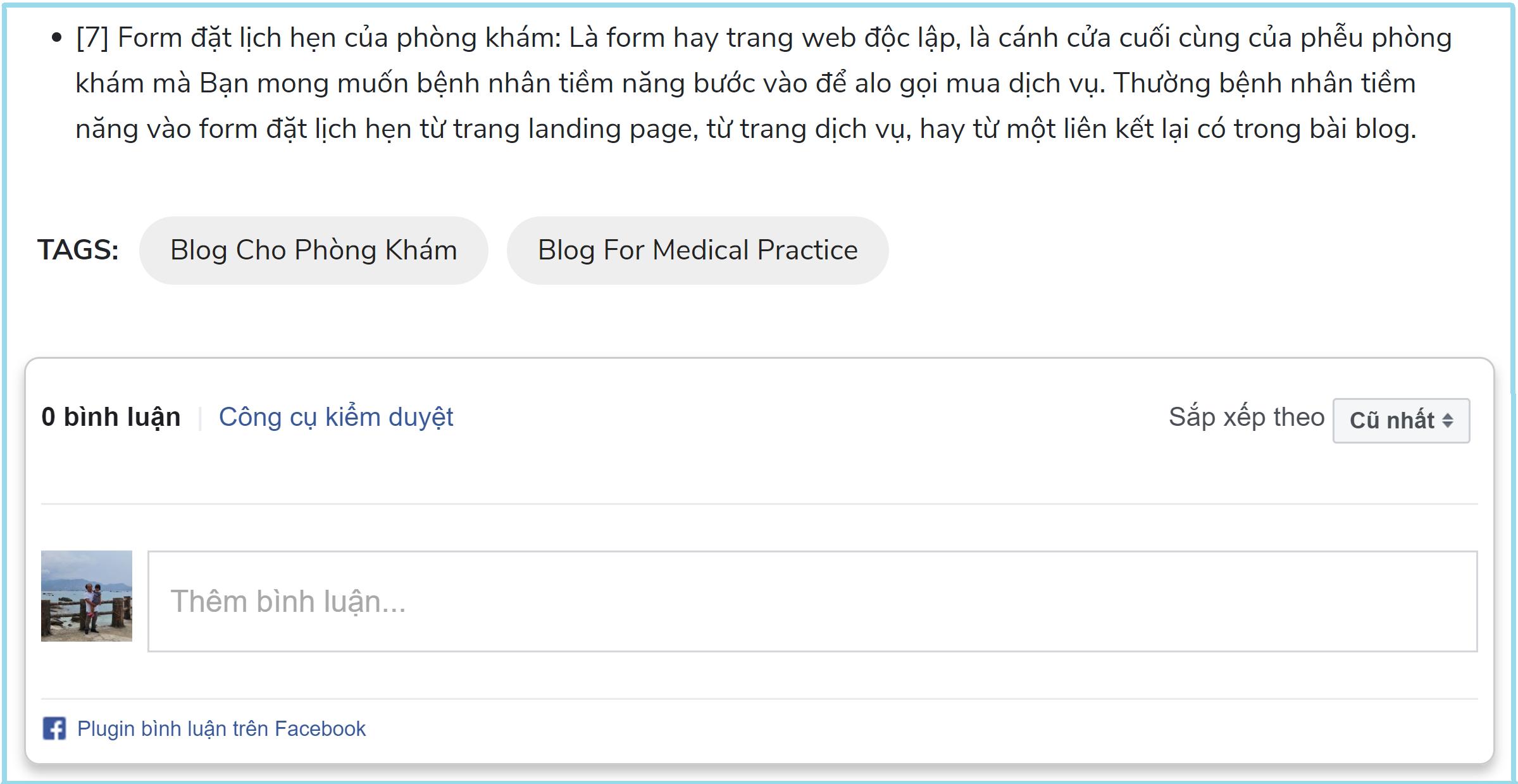 Chức năng bình luận của độc giả ở ngay cuối bài blog