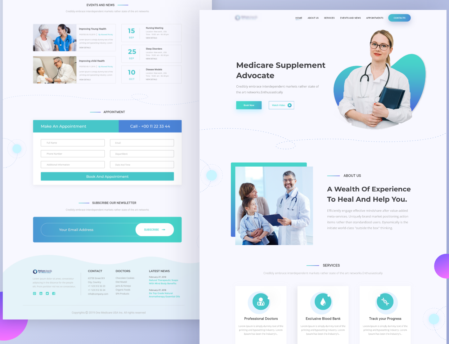 A medical practice landing page
